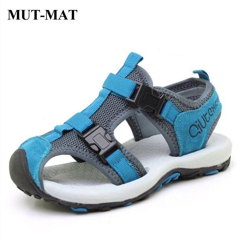 erkek tatil ayakkabı spor sandalet Y200404 ağ var Çocuk Yaz içi boş sandalet deri çocuk plaj ayakkabıları