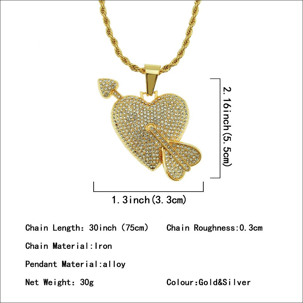 Diamond Set Lovely Pendant Necklace One Arrow Piercing Heart Environmental Protection Electroplated Cupid Arrow Pendant