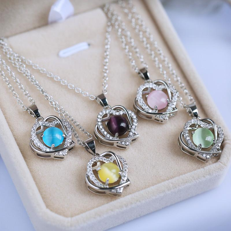 Free shipping Fashion Jewelry Classic Silver Romantic 5- Colors Austrian Crystal heart shape Chain Necklace Pendant Jewelry