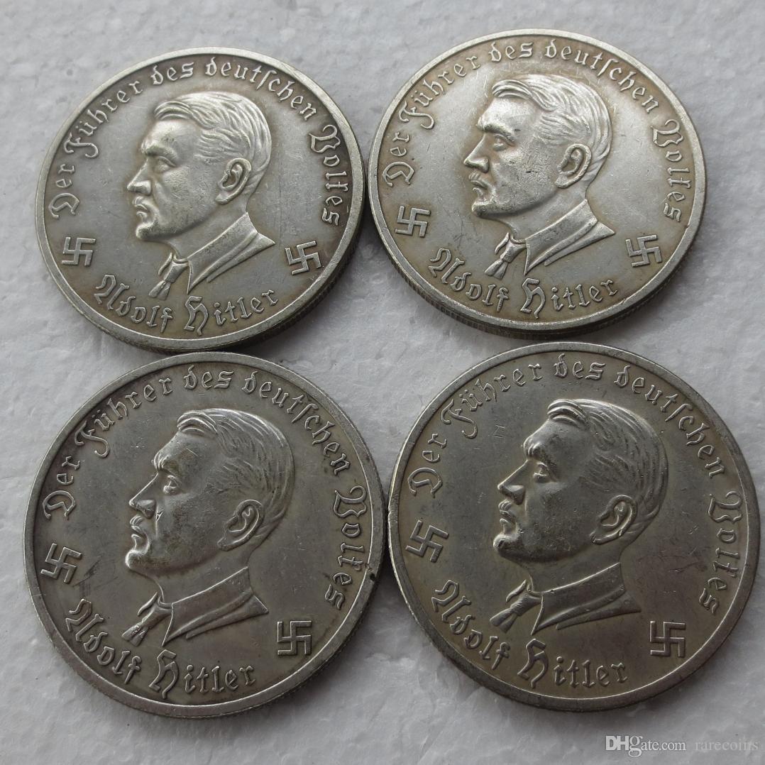 ألمانيا العملات المعدنية التذكارية 1941 -1944 4PCS alirplane نسخ عملات الفضة مطلي النحاس حرفة الحلي