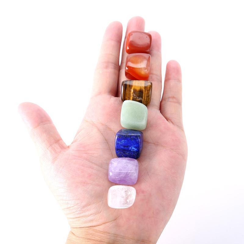 Natural del cristal de Chakra de piedra 7pcs Set Piedras naturales de Palm curativo de la energía de los cristales de las piedras preciosas Yoga libre de DHL