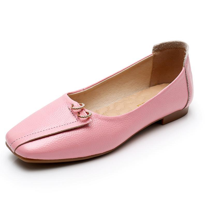 Piazza Donna Lady Primavera Estate Autunno moda le dita dei piedi di balletto dei fannulloni di cuoio del tallone piatto Scarpe Donna Shallow Genuine Leather Slip-On scarpe basse