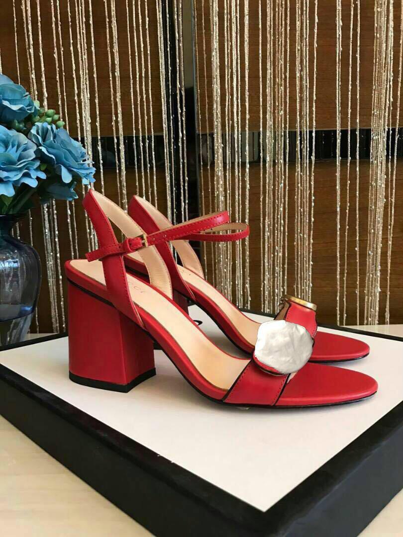 роскошные дизайнерские женские туфли с коробкой сандалии на высоком каблуке грубый каблук кожа металлическая пряжка для партии оккупация сексуальные сандалии size34-41