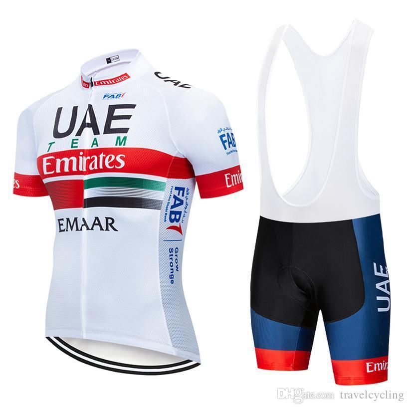 summer 2019 UAE Pro Team cycling Jersey bicycle Shirt bib shorts set breathable quick dry men mtb bike clothing racing sportswear Y030801