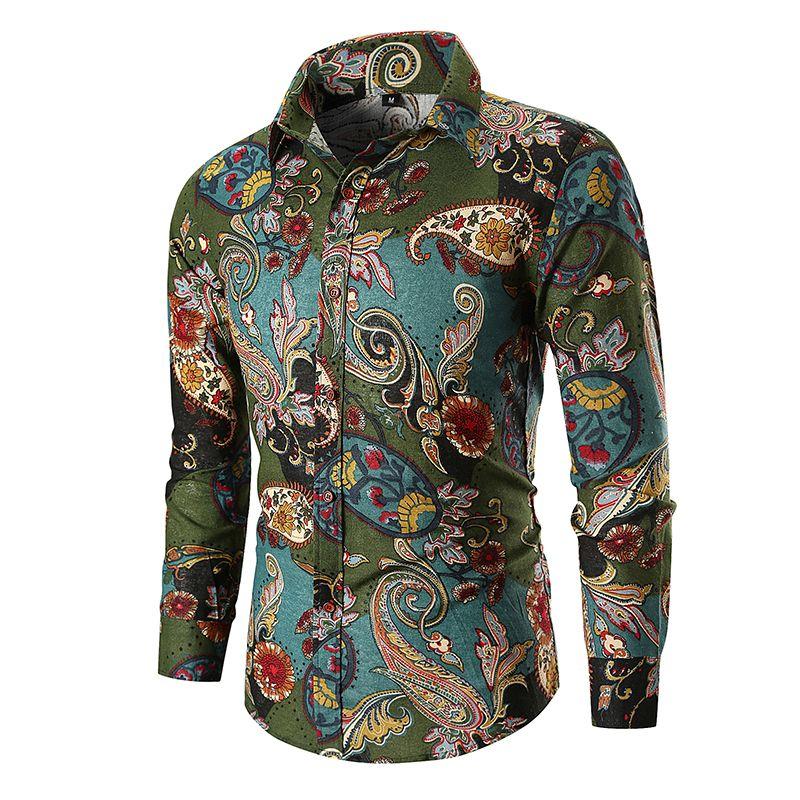 رجل جديد الزهور الزهور طباعة قميص رجل الأعمال القميص عادية للرجال اللباس قمصان طويلة الأكمام قميص