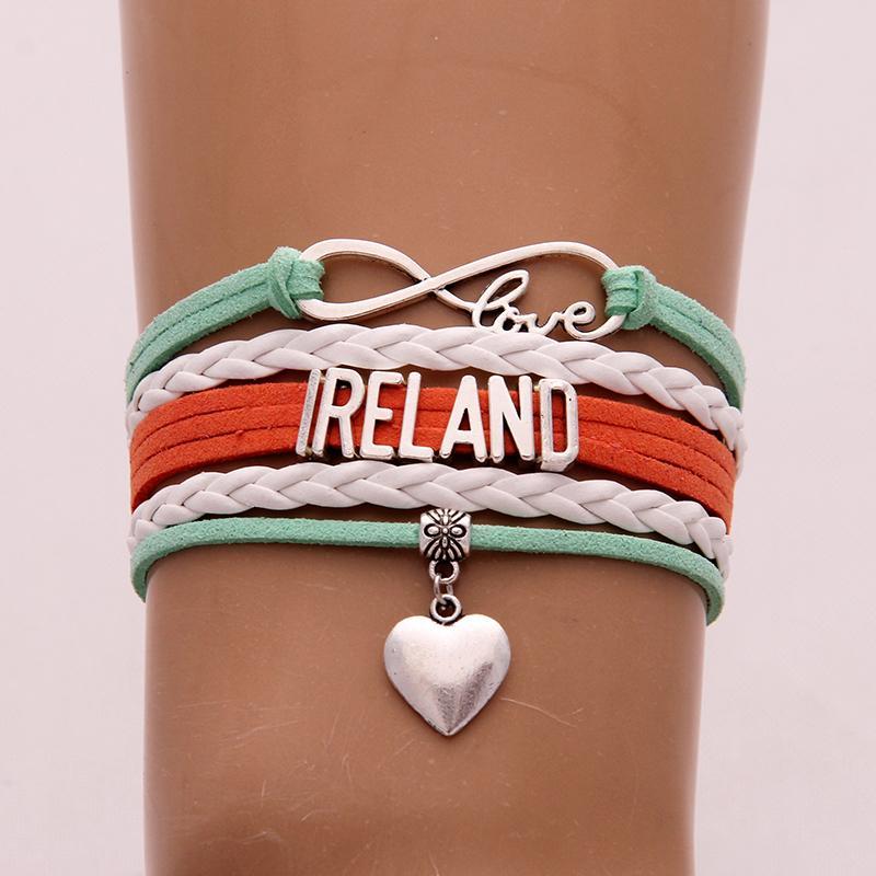 Бесконечность Любовь Ирландии Браслеты Браслеты шарма сердца Страна ювелирных Плетеный кожаный браслет для женщин Мужчинам перевозка груза падения