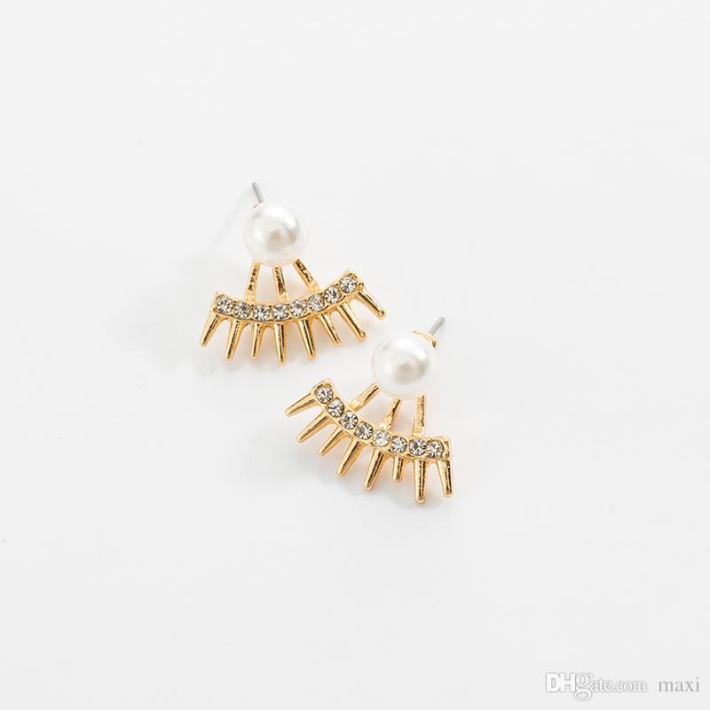 Maxi Pearl punk style tip cone full diamond pearl stud earrings bling Multi-angle ear ornament