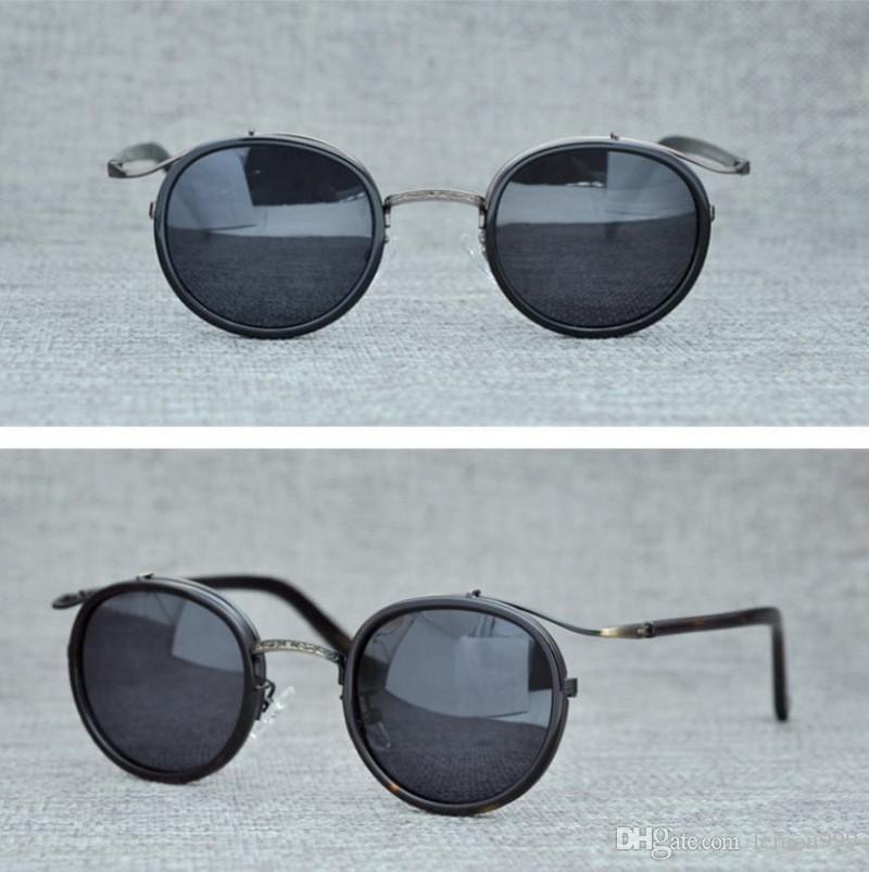 Brand Vintage Ploarized Sunglasses Oliver Peoples Sunglasses Round Men Women Sun Glasses Retro Punk Metal Sunglasses With Original Box Sunglasses