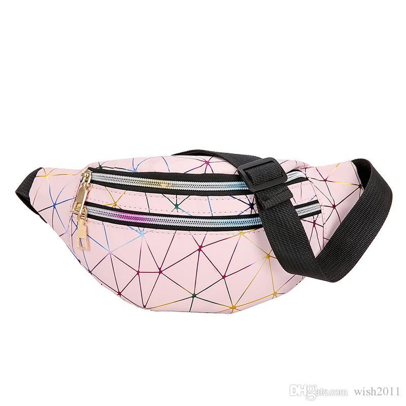 Ceinture de la ceinture laser argent argent femme téléphone femme sacs sac noir pack géométrique packs paquets de la poitrine Fanny Pochette Lexba