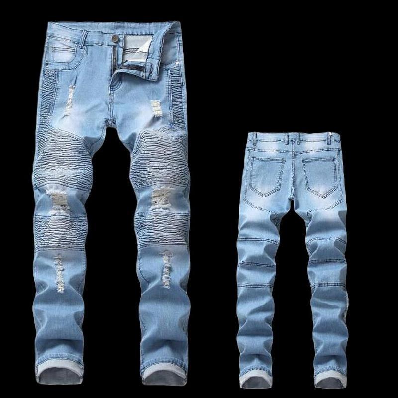 2020 hombres de la calle flaco jeans rectos motorista masculino de la motocicleta Streetwear Hip hop pantalones de mezclilla Joggers la pista de la vendimia de los pantalones vaqueros de los hombres