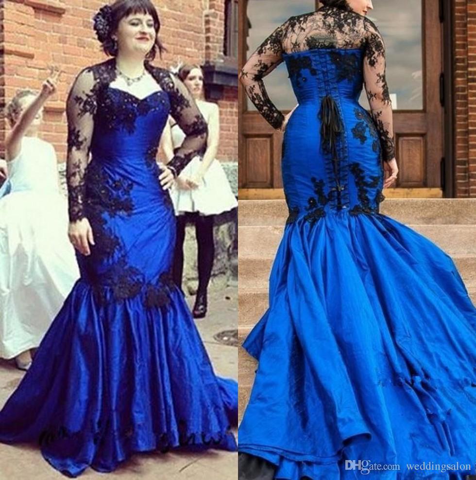Azul royal gótico frisado sereia vestidos de baile com mangas compridas Appliqued querida pescoço vestido formal trem da varredura plus size vestidos de noite