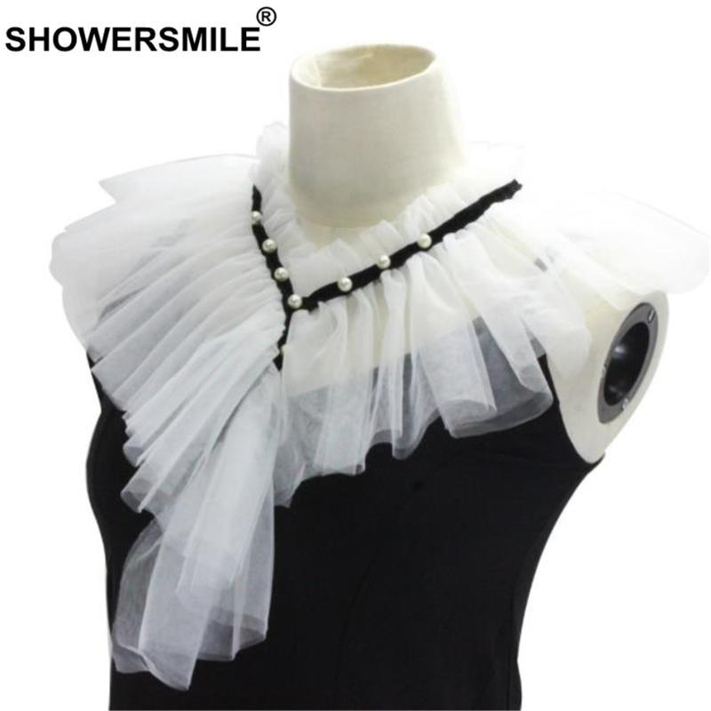 SHOWERSMILE Women Fake Collar White Wedding Ladies Detachable Ruffle Collar Fashion Female Pearl False