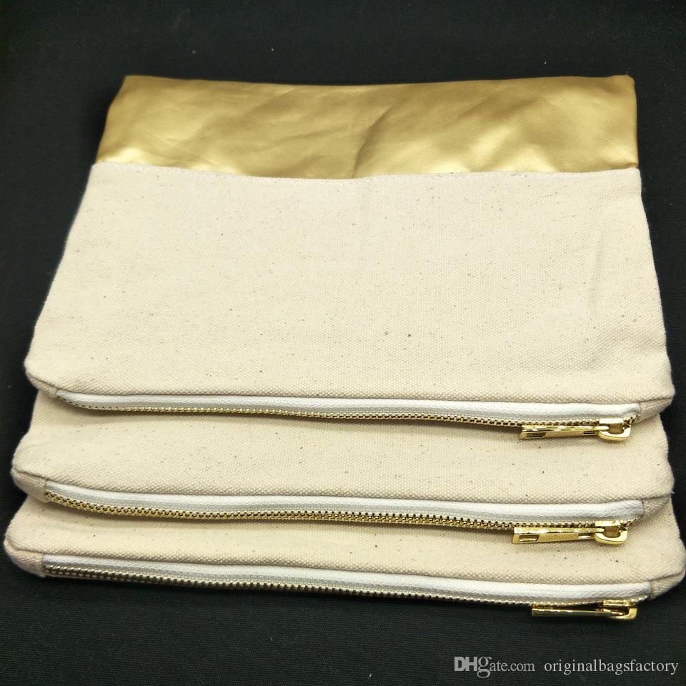 1pc 7x10in 12oz bolsa de cosméticos de lona de algodón natural de espesor con fondo de PU dorado 12oz bolsa de maquillaje de lona natural en blanco con cremallera de metal dorado