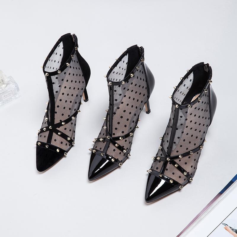 Heißer Verkauf-Sexy Mesh Nieten Spitz Echtes Leder Frauen Pumpt 85mm Mode High Heels Schuhe für Frauen Büro Kleid Schuhe Stiefeletten