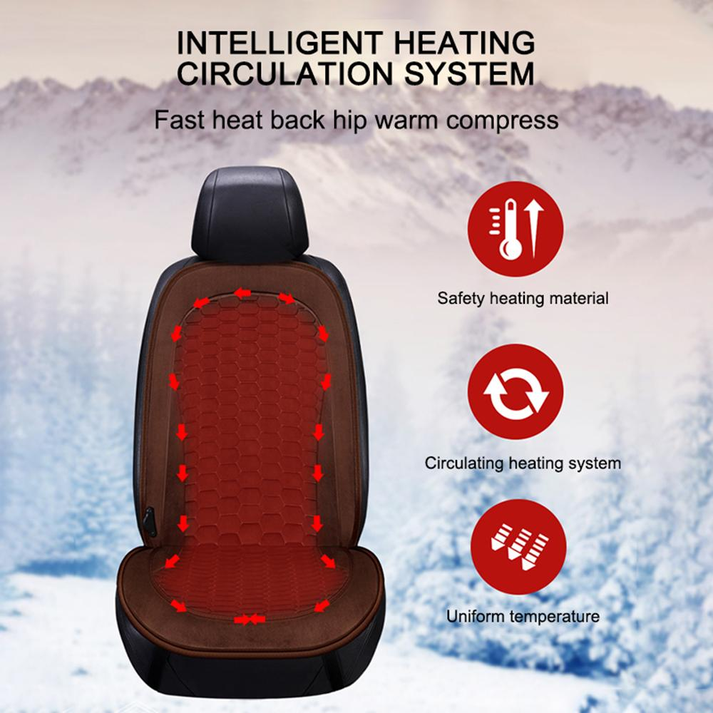 1pc Car Seat Cushion Cover Seat Heater Warmer Winter Household Safe Anti-Slipping 12v Adjustable Heated Cushion