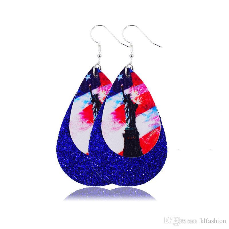 2020 Fashion Design double couche PU cuir boucle d'oreille États-Unis Drapeau Teardrop Impression Dangle boucle d'oreille pour Independence Day femmes Bijoux