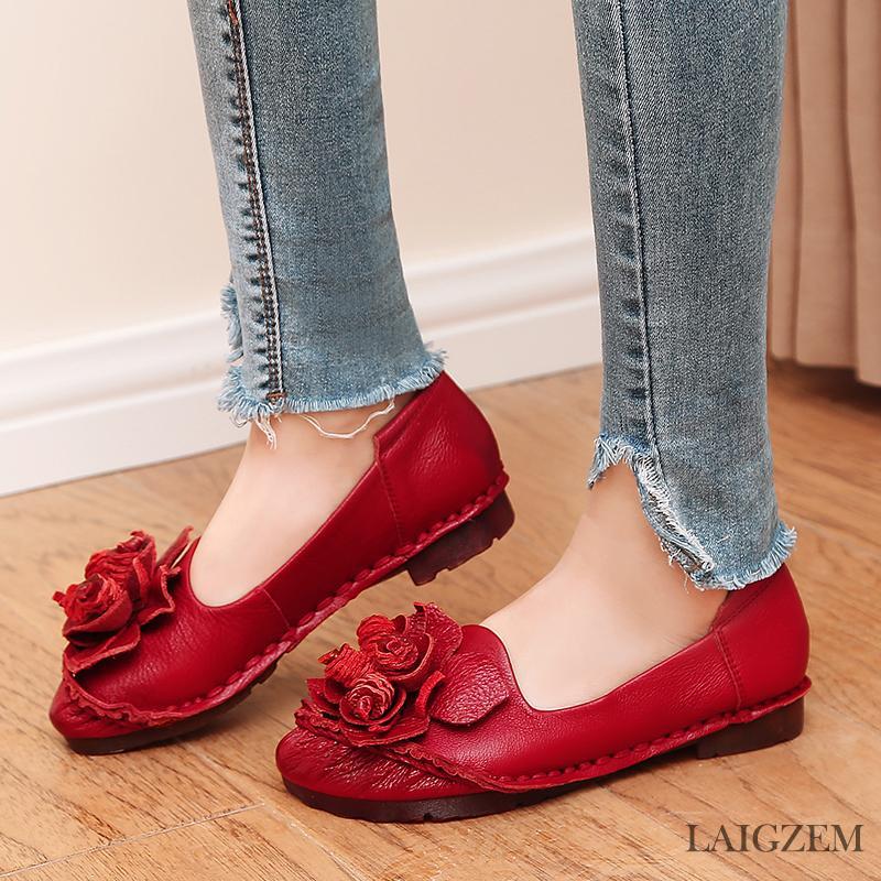 LAIGZEM ELEGANT Mujeres Pisos Cuero Genuino Impermeable de Fondo Suave Retro Zapatos Hechos A Mano Mujeres Chaussure Femme Zapatillas Mujer