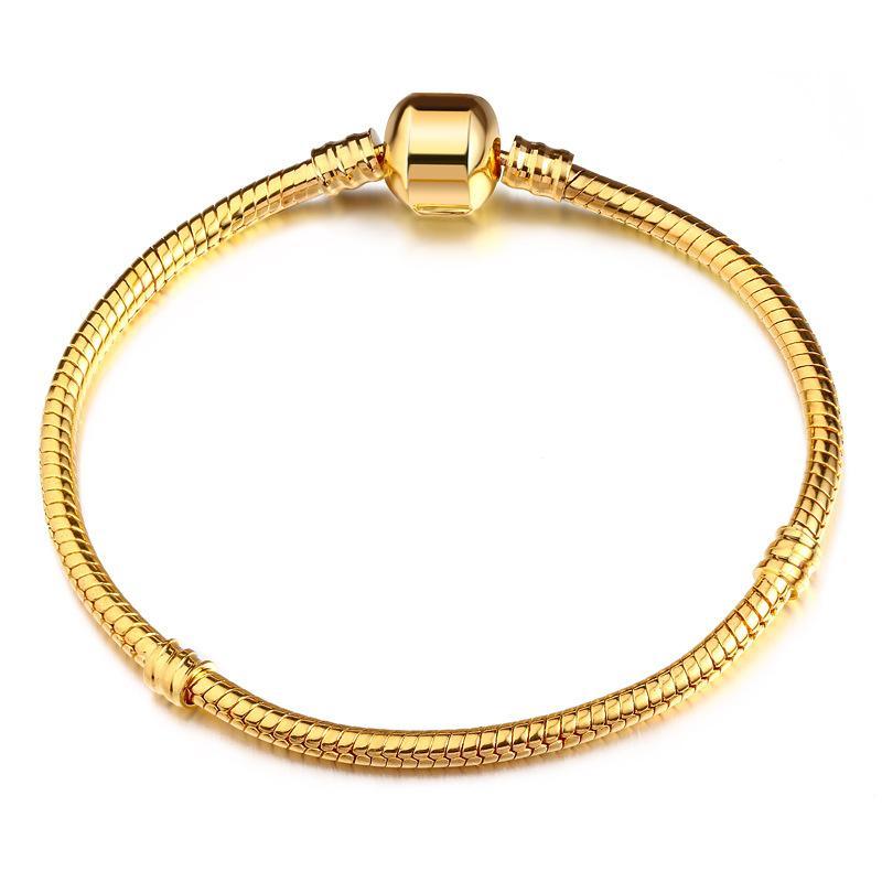 Haute Qualité Authentique Argent Couleur Serpent Chaîne Fine Bracelet Fit Européenne Charme Bracelet pour Femmes BRICOLAGE Fabrication de Bijoux