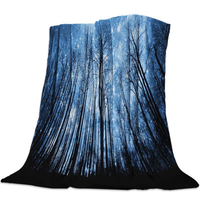 Vellón de tiro de la cama manta ligera super suave acogedor Cielo Bosque Negro Estrellas Luna manta blanca del regalo para los adultos de los niños