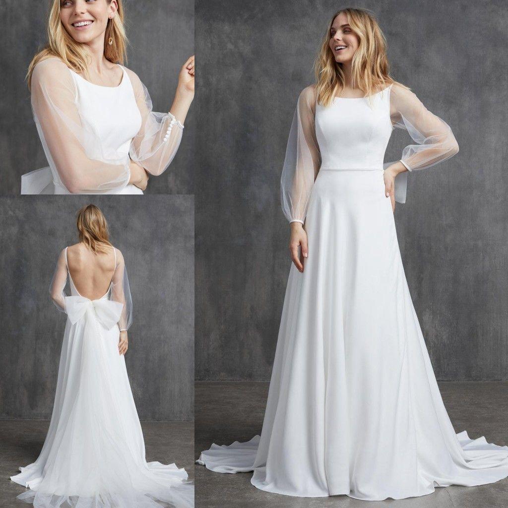 Пляж Line Свадебные платья Jewel шеи длинным рукавом Лук Backless шифон Свадебные платья Поезд стреловидности BOHO Свадебные платья