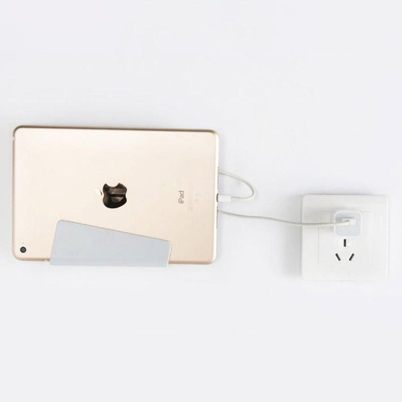 Universal Wall Mounted Phone Holder Charging Stand with Bracket Sticky for iPhone Xs Max X Plus Samsung Galaxy Huawei Tablet Retail Package