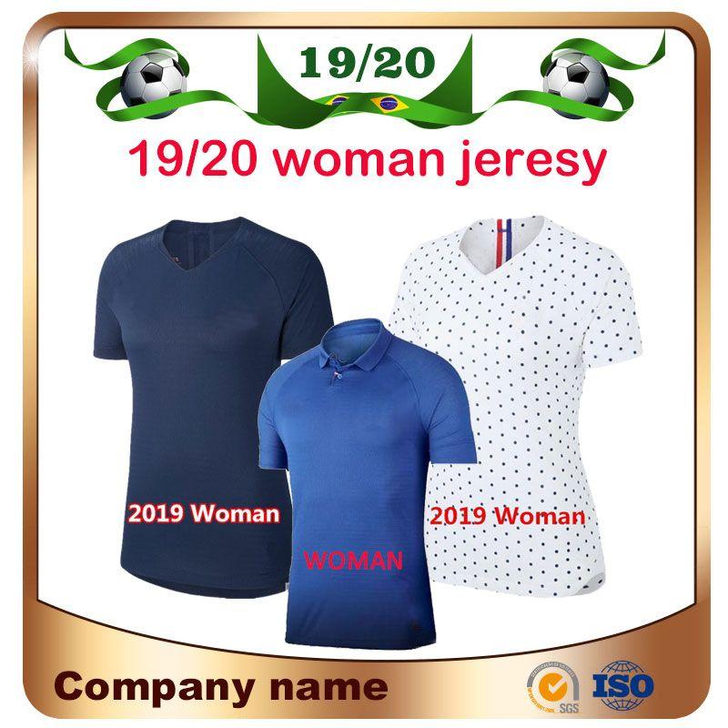2019 World Cup Mujer Soccer Jersey 19/20 Home Blue Mbappe Griezmann Señora Camisa de fútbol Pogba Giroud Uniforme de fútbol Venta