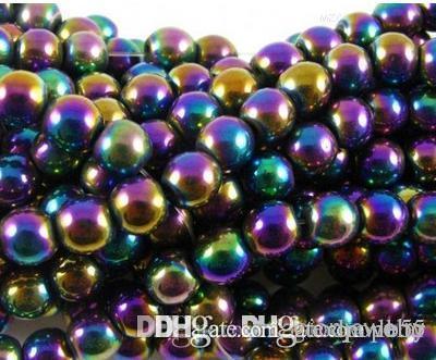 z94 caldo 8mm 10mm 200 pz / lotto argento placcato oro multicolore ematite perle di perline tonde cristallo sfera sciolto perlina di cristallo i352 w62