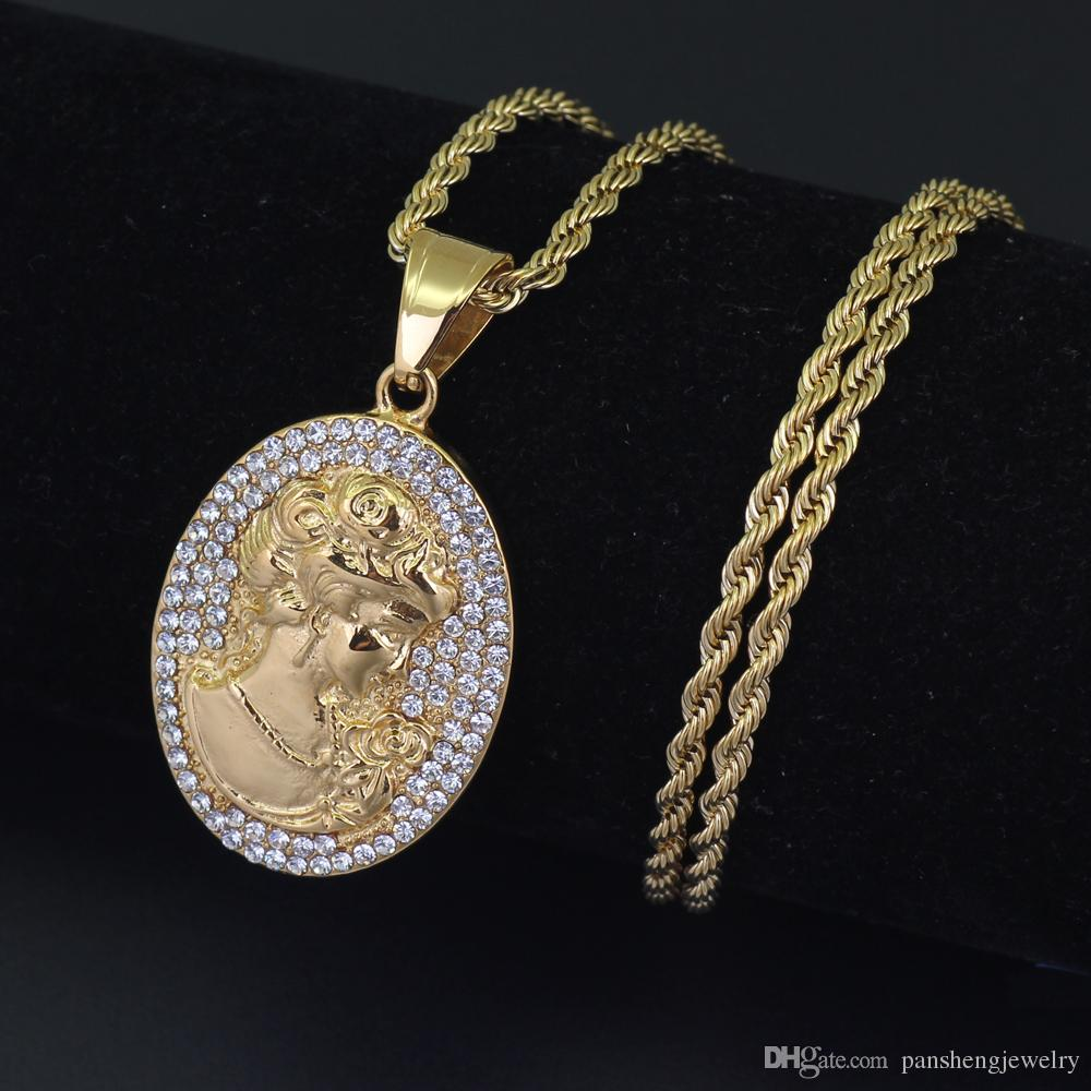 Stainless steel Full Crystal girl Pendants Iced Necklace Bling Bling Jewelry For Men And Women SN111