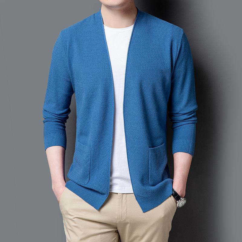 Uomo Primavera Cardigan coreano maglione lavorato a maglia sottile sottile con scollo a V a maniche lunghe Boy Blue oversize maglione casual Maglieria XXL XXXL