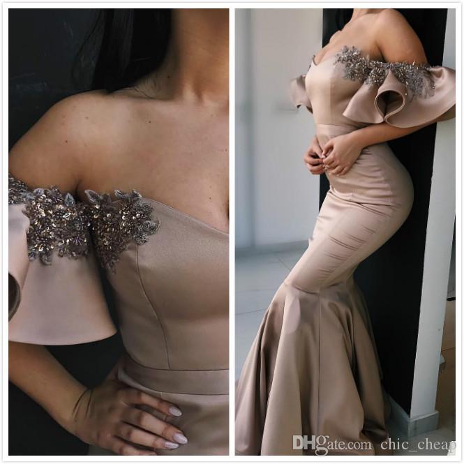 Lentejuelas con cuentas de encaje 2019 vestidos de noche cariño sirena satinado vestidos de baile vestidos de dama de honor de fiesta formales baratos baratos ZJ95