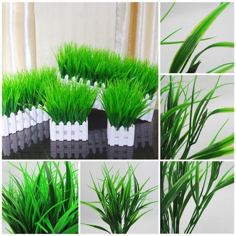 5PCS / Set erba artificiale pianta pieghevole decorativo falso piante Grass falso per home office Decor