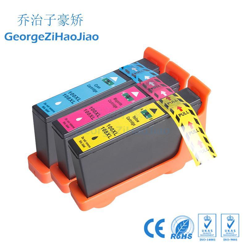 3X LM100 100XL Mürekkep Kartuşu için Uyumlu 108XL Lexmark S305 / S405 / S505 / S605 / Pro205 / 705/805/905 Yazıcılar 3