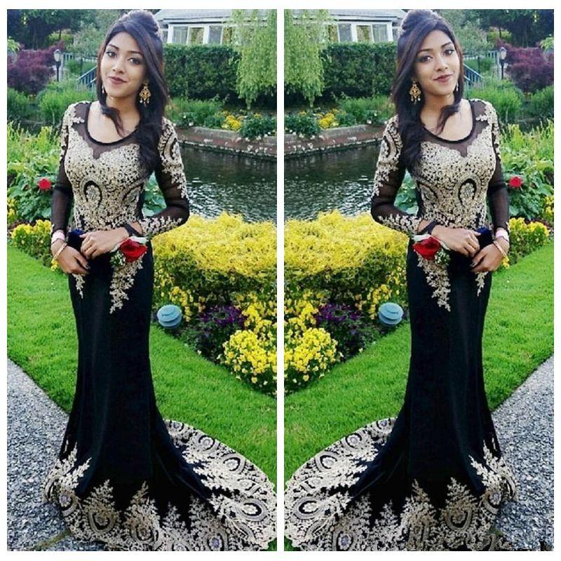 Noir pure manches longues robes de bal sirène avec Or dentelle Appliques robes de soirée 2019 personnalisé robes de soirée