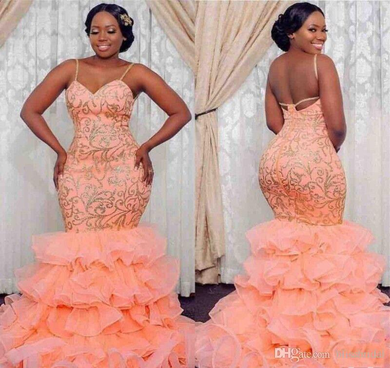 Plus Size Orange Applique Ruffles Mermaid Prom Party Gowns Spaghetti Zipper  Back Long Evening Dresses 2019 Custom Made Formal Party Dress Short Prom ...