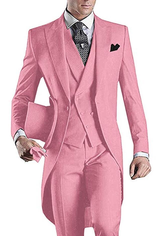 3 Adet Pembe Erkekler tailcoat Damat smokin Tepe Yaka Erkekler Düğün Balo Parti Akşam Blazer Yelek için Suit (ceket + pantolon + Vest + Tie) Suits