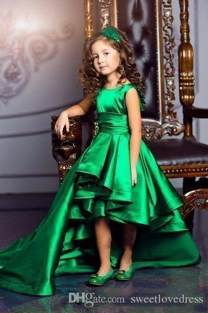 Lovely Green Princess Girls Pageant Dress With Satin Ruffle Hi Lo Sash Flower Girls Dresses For Wedding custom MAde
