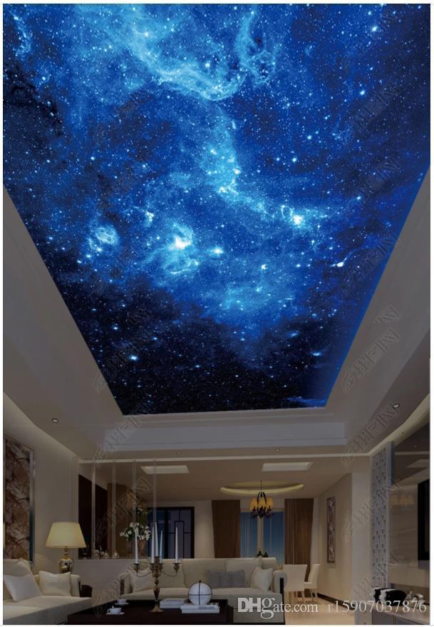 Personalizado Grande foto 3D papel de parede 3d murais de teto papel de parede HD bela parede estrelado mural fundo zenith pintura teto mural