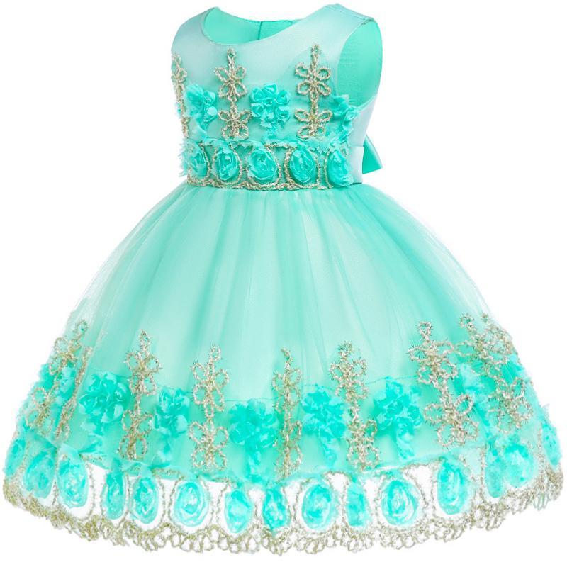 Baby Girl Flower Lace Dress Kids Baby Girls Birthday Vestido Girls 1st Birthday Dress Party Princess Dress Baby Girl Clothes Y19061101