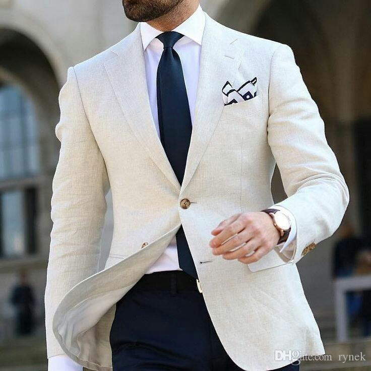 Beige Linen Coat Blue Pants Designs Men Suits For Wedding Man Blazers Jacket Casual Groom Tuxedos 2Piece Business Suit Costume Homme