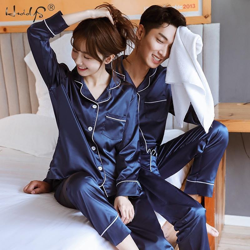 Nouveau couple de nuit en satin de soie Pyjama Set longues et courtes boutonnée Pyjama Costume Pijama Femmes Hommes Taille Plus Loungewear Pyjama T200613