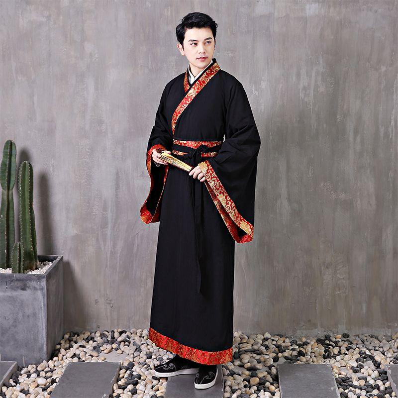 Chinois ancien homme Robe noire Hanfu Cosplay pour Homme Voir les costumes traditionnels film de télévision Stage Performance wear
