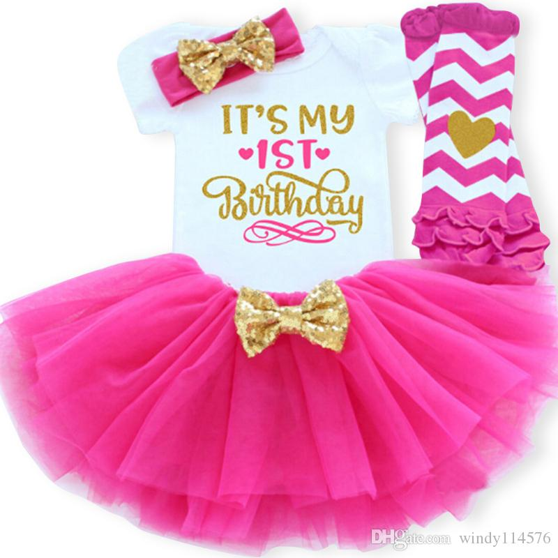 1 Year Girl Baby Birthday Dress Summer New Cotton Kids Clothes First Birthday Party Christening Dresses For Toddler Girls XF81