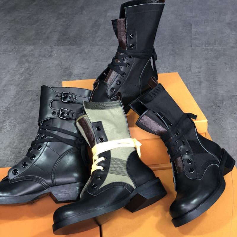 Yeni Arriveweal Kadın Metropolis Düz Ranger Savaş Boot Siyah Buzağı Deri Monogram Tuval ile Botlar Tuval Dantel-Up Kovboy Çizmeler Açık Ayakkabı