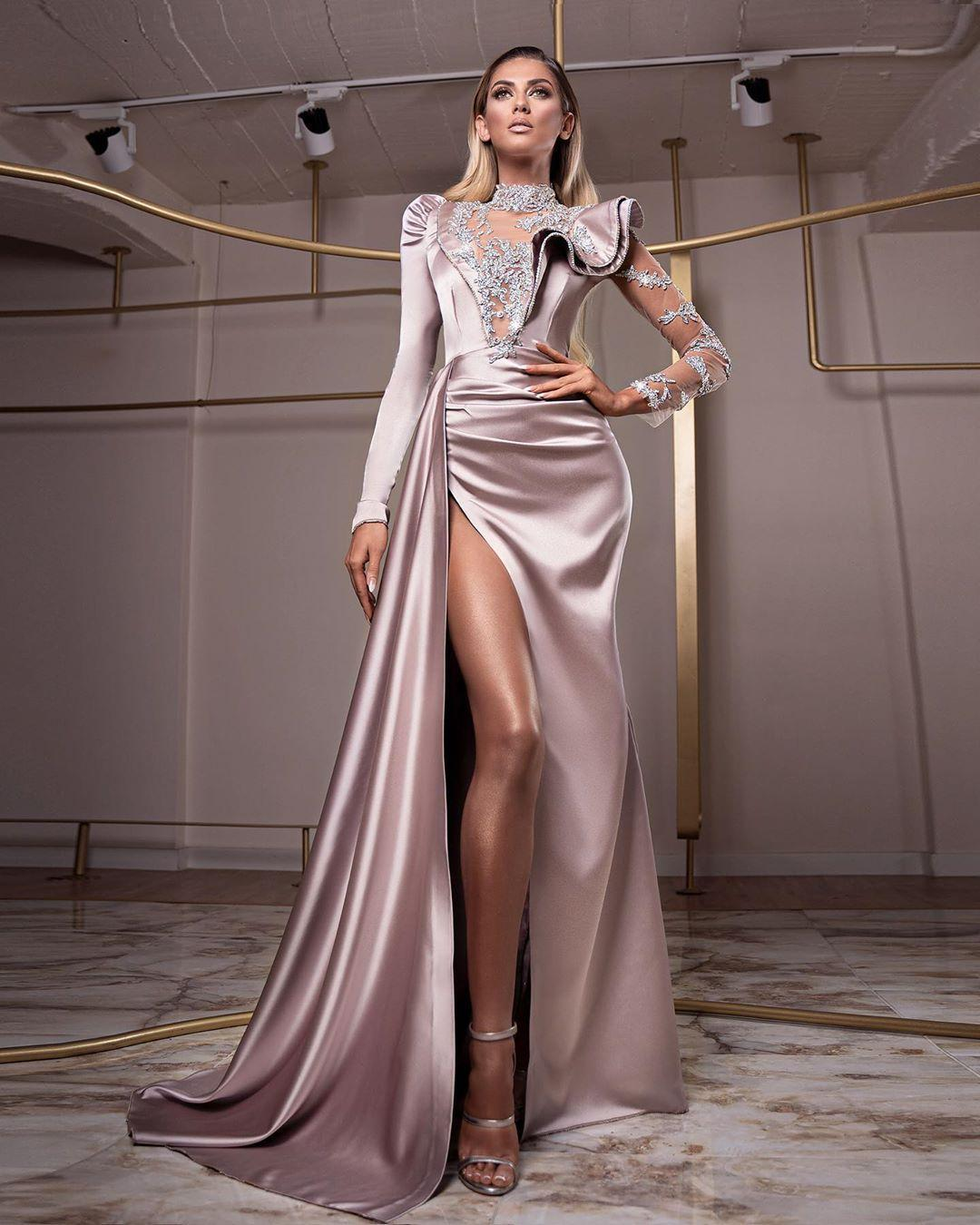2020 Arabic ASO EBI Dentelle Robes de soirée perlée Sirène Manches longues Robes de bal de promo