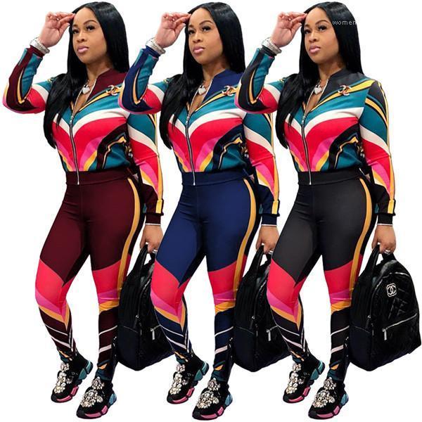 Survêtements précarisés rayé Imprimé Sport Set Mode Femmes 2Pcs contraste couleur Set Cardigan Femmes Automne