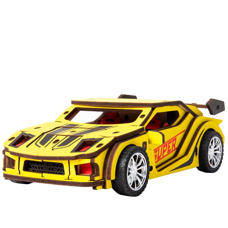 Robotime 4 Kinds Movable DIY 3D Wooden Inertia Power Car Model Building Kits Assembly Toy Gift for Children Adult HL MX200414