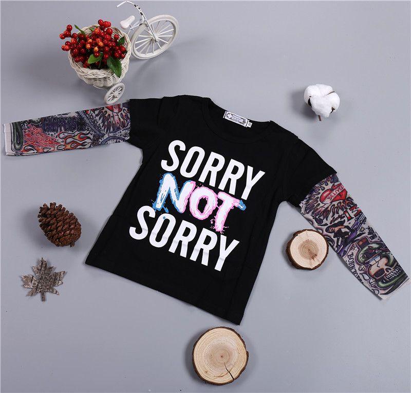 INS Venta caliente KID'S camiseta de manga larga Conjunto de Hiphop Tatoo wen Shen Xiu camiseta Lo sentimos No sentimos Impreso