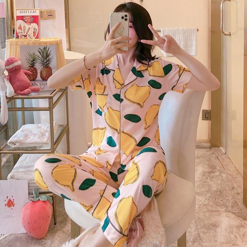 DTJE5 Пижамы женщины лето с короткими рукавами брюки весны и пижама pajamasautumn тонких летнего домашнего костюма матерей средних годами Спящий Беа