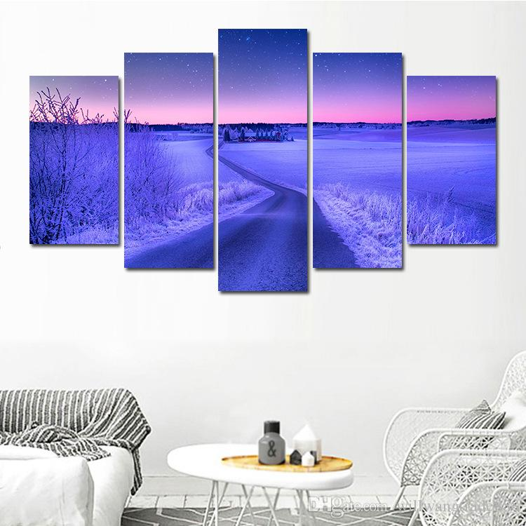 5 Pcs Combinations HD Fantasy Purple beautiful scenery Blue Trees Road Framed Canvas Painting Wall Decoration Printed Oil Painting poster