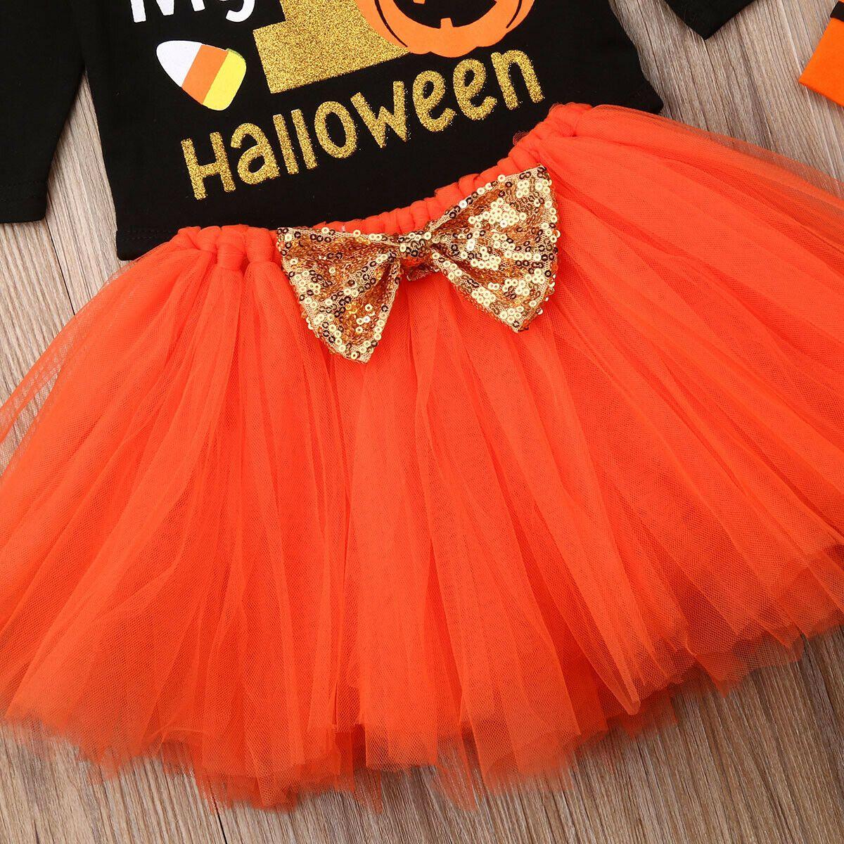 Halloween Baby Girl Pumpkin Romper My 1st Bodysuit Princess Bowknot Tulle Tutu Skirt Leg Warmers Heaband Outfits Set